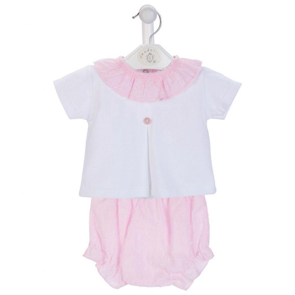 AV6098 Girls Dobbie Cotton  Ruffle Collar and bloomers